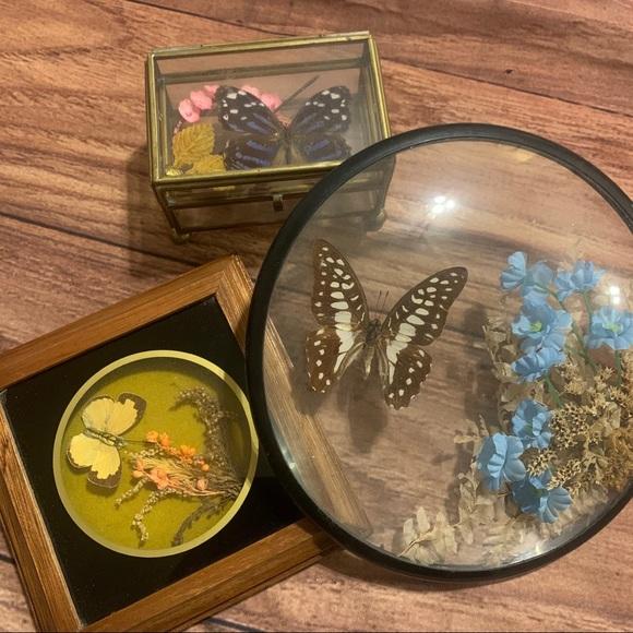 Moving sale! VTG lot - butterfly decor & glass box